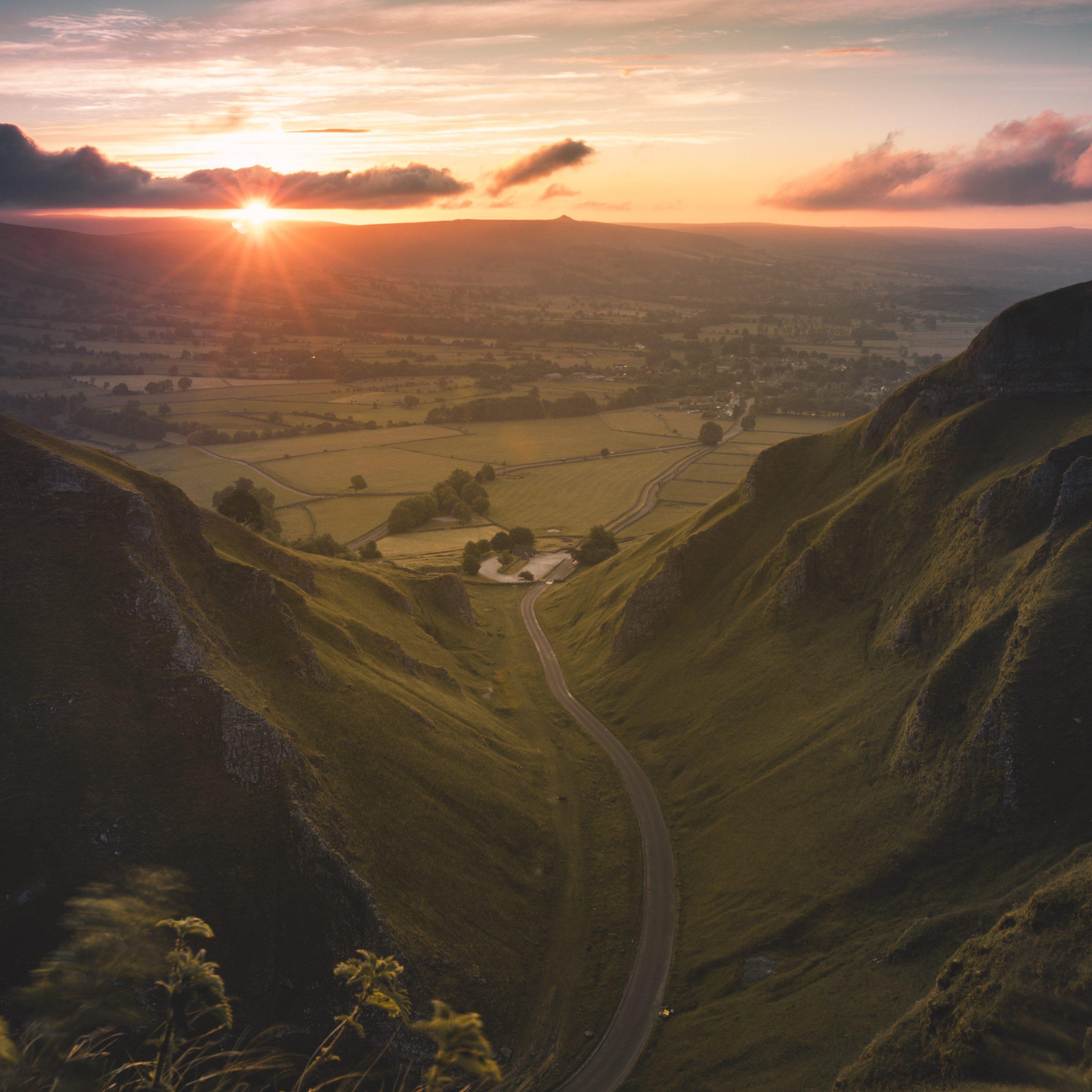 Winnats Pass at sunrise, Derbyshire